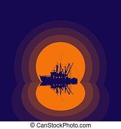 ボート, シルエット, 釣り, 反射
