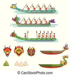 ボート, セット, ドラゴン, 祝祭, ベクトル, 競いなさい, チーム, イラスト, マレ, 運動選手, ボート