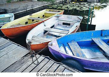 ボート, ドック, 古い, 少数