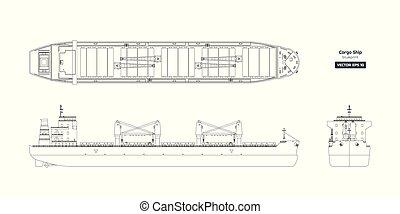 ボート, バックグラウンド。, 貨物, 光景, 船, 図画, 側, 前部, 白, 容器, 青写真, 上, tanker., アウトライン