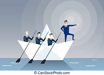 ボート, ビジネス 人々, チームワーク, 先導, リーダーシップ, 概念, チーム, 水泳, ビジネスマン