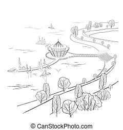 ボート, ベクトル, 波止場, 線である, 風景