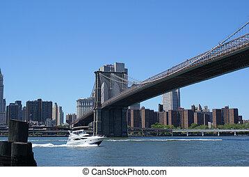 ボート, 下に, ブルックリン 橋