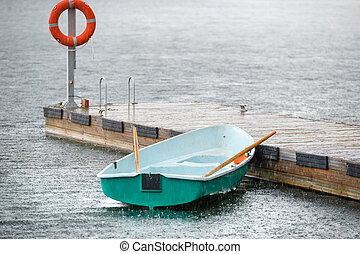 ボート, 下に, ∥, 夏, 雨, 結ばれた, へ, ∥, 桟橋