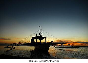 ボート, 中に, 日没