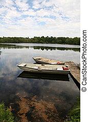 ボート, 夏, 風景, 横列