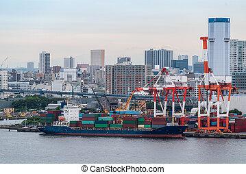 ボート, 容器, 航空写真, 大きい, 貨物