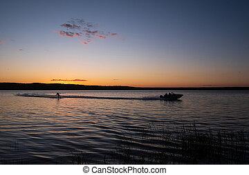 ボート, 板, 湖, の後ろ