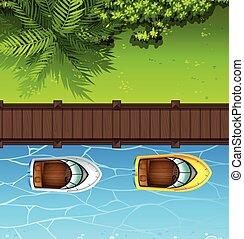 ボート, 橋, 浮く, 2, 終わり