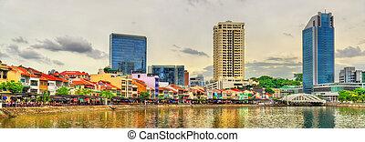 ボート, 波止場, a, 歴史の地区, の, シンガポール