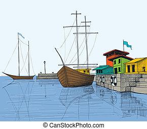 ボート, 港, イラスト, 釣り