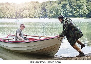 ボート, 男性, 成人, 押す