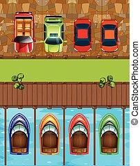 ボート, 自動車, 平面図, 駐車