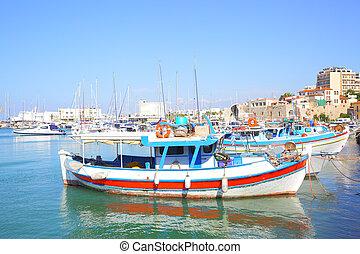 ボート, 釣り, heraklion, 港