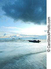 ボート, 雷雨, 海, 到来