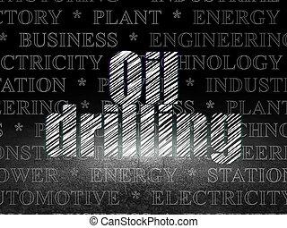 ボーリングする, 部屋, concept:, オイル, 暗い, グランジ, 産業