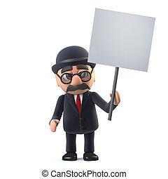 ボーリング競技者, プラカード, イギリス, 保有物, hatted, ビジネスマン, 3d
