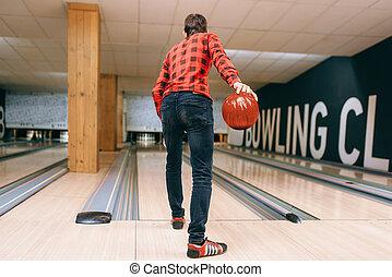 ボーリング競技者, マレ, 背中, ボール, 車線, 投球, 光景
