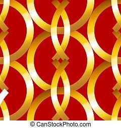 ボールド体, パターン, geometrics, リング, 金, seamless