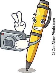 ボールペン, クラシック, カメラマン, 特徴, 隔離された, ペン