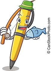 ボールペン, クラシック, 特徴, 隔離された, ペン, 釣り