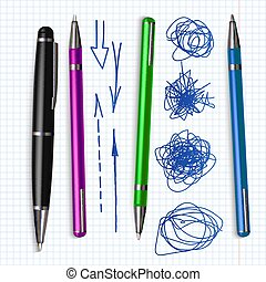 ボールペン, セット, いたずら書き, 手, ペン, ベクトル, 引かれる