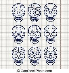 ボールペン, セット, メキシコ人, ペン, 頭骨