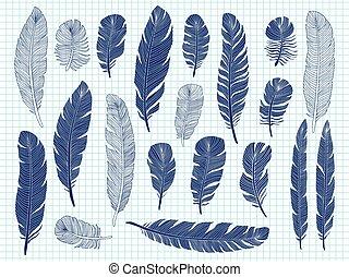 ボールペン, セット, 大きい, 羽, 鳥, ペン, ノート, 背景, 図画