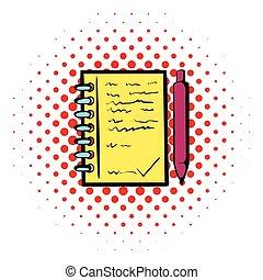 ボールペン, ノート, らせん状に動きなさい, アイコン, ペン