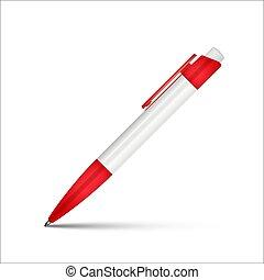 ボールペン, 現実的, 隔離された, バックグラウンド。, ペン, ベクトル, 白