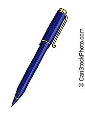 ボールペン, 白, 上に, イラスト, ペン