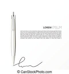 ボールペン, 白, 隔離された, 銀, ペン