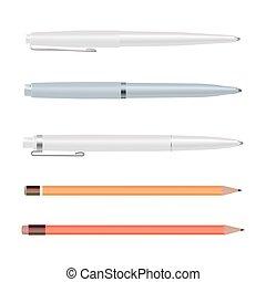 ボールペン, 鉛筆, design., スタイル, ペン, リード, set., 隔離された, ゴム, 背景, オレンジ, 白, 消しゴム, 赤, 平ら, イラスト, 文房具, 漫画, 鉛筆, ベクトル, ペン, 点