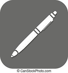 ボールペン, flat., シンボル。, ペン, ベクトル, icon.