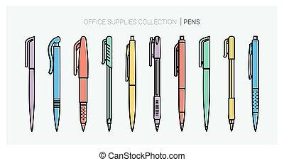 ボールペン, school., オフィス, 背中, style., tools., ペン, set., 執筆, 材料,...