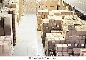 ボール箱, 中に, 倉庫