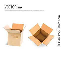 ボール紙, ベクトル, illustration., コレクション, boxes.