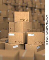 ボール紙, 山, boxes.
