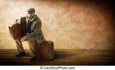 ボール紙, suitcases., emigrant