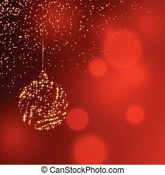 ボール, きらめき, 装飾, 背景, 光沢がある, クリスマス, 赤