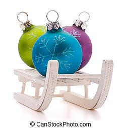 ボール, そりで滑べる, 隔離された, クリスマス, chr, 背景, 白, cutout.