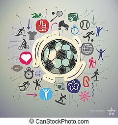 ボール, アイコン, ステッカー, ハンドセット, スポーツ, 引かれる, サッカー