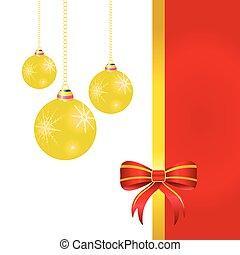 ボール, イラスト, 弓, ベクトル, クリスマス, 赤
