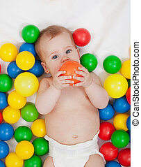 ボール, カラフルである, 赤ん坊, chubby, 女の子, 遊び