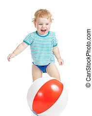 ボール, カラフルである, 隔離された, 子供, 白, 遊び, 幸せ