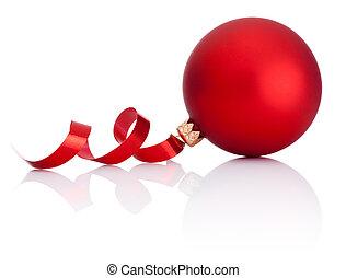 ボール, カール, 隔離された, ペーパー, 背景, 白い クリスマス, 赤