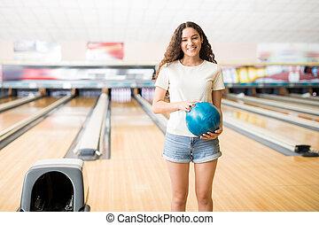ボール, クラブ, アリー, ボウリング, 女の子, 遊び