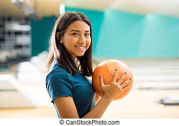 ボール, クラブ, アリー, ボウリング, 楽しみ, 女の子, 持つこと