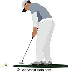 ボール, クラブ, ゴルファー, 鉄, ヒッティング