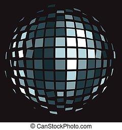 ボール, クラブ, ball)., ディスコ, 鏡, (glitter